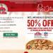 訂購Papa Johns大號或者加大號的披薩都可以享受50%off(10/20 only)