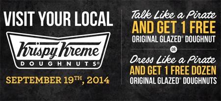 Talk Like A Pirate Day 拿免費Krispy Kreme甜甜圈!! (9/19)