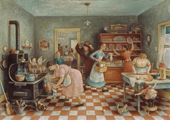 thanksgiving women in kitchen painting
