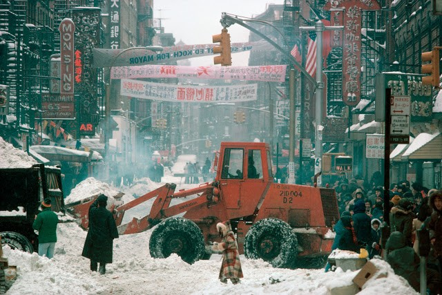 USA. New York City. 1983. Chinatown's Canal Street after a blizzard.
