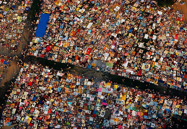 USA. New York. 1983. Central park during a public concert with picknickers, seen from air.