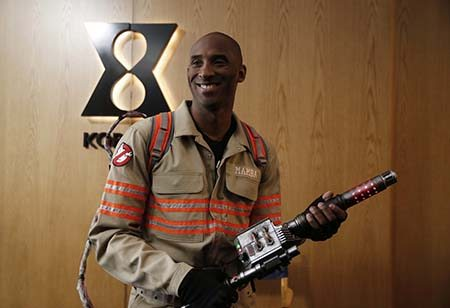 Kobe Bryant on set for a Ghostbusters commercial on April 29, 2016 in Los Angeles. (Photo by Jed Jacobsohn for the Players' Tribune)