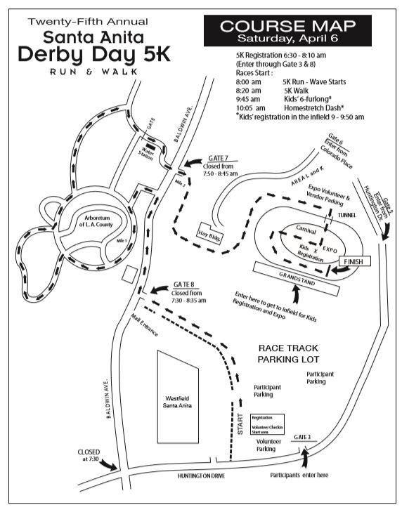 Santa Anita Derby Day 5k 馬拉松 4 6 Wacowla 哇靠 洛杉矶 Los